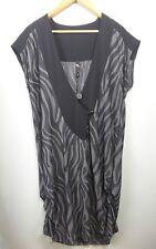 TS TAKING SHAPE chic black  grey stripe gathered bold tunic top & dress XS 14 16