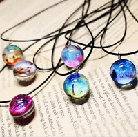 Fashion Star Short Glass Galaxy Planet Pendant Necklace For Women Trendy Jewelry