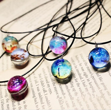 Stars Short Glass Galaxy Pattern Necklaces Glass Pendant Necklace Display