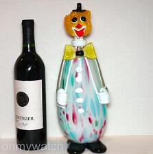 SWEET Vtg MURANO 🇮🇹 Clown DECANTER Large Bottle ArT GLaSs Italy Venetian LABEL