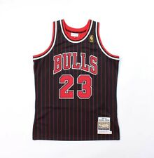 CHICAGO BULLS MICHEAL JORDAN BLACK RED 96 PINSTRIPE MITCHELL & NESS 23 AUTHENTIC