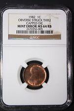 1982  Penny Cent MINT ERROR OBVERSE STRUCK THRU CAPPED DIE NGC MS64RB RARE Sharp