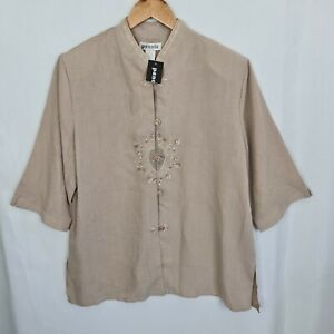 PANOLA Size L Beige 3/4 Sleeve Embroidered Light Weave Button Up Top/Blouse BNWT