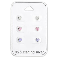 Sterling Silver 3 Pairs Lot Tiny 4mm Heart CZ Crystal Mix Kids Stud Earring 2406