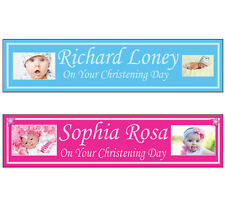 2 Personalised Photo party banners Christening baptism birthday decoration  2a