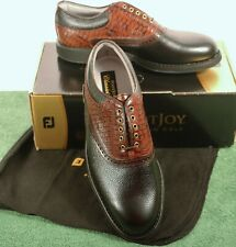 NEW IN BOX Mens 9.5 D M FootJoy Classics Tour Style 51872 Black/Brown Golf Shoes