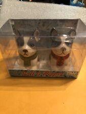 Boston Warehouse Boston Terrier Ceramic Salt And Pepper Shakers New In Box