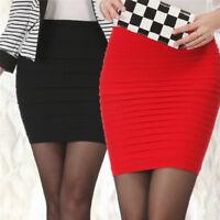 Mujeres faldas sexy ropa alta cintura sin costura dama raya corta mini faldaZK