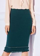 Deep Jade Wool Mix Easy On Pencil Skirt With Fringe Hem Detail Size 10 NEW
