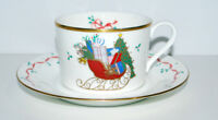 Mikasa CHRISTMAS CHEER Sleigh Presents Ribbon Holly Oversize Cup and Saucer New