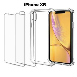 Case + 2 Screen Protector iPhone 13 11 12 Pro Max XS XR 6 7 8 Plus SE 2020 Clear