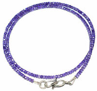 """12-40"""" Strand Necklace 925 Sterling Silver Blue Zircon 3 mm Round Cut Beads ZX03"""