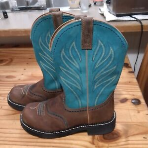Ariat  ladies PrSize 10 Brown Leather Riding Cowgirl Western fat boys brown/turq