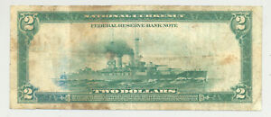 $2 Series 1918 Battleship Federal Reserve Bank Note from Cleveland District