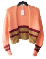 Free People Size XS Chunky Knit Orange Glow Striped Cardigan Sweater