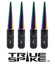 20 TRUE SPIKE 121MM 12X1.5 STEEL TUNER LUG NUTS W/ NEO CHROME EXTENDED SPIKES C