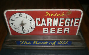 CARNEGIE BEER CLOCK - CHARTIERS VALLEY BREWERY - CARNEGIE, PA.  -  VINTAGE