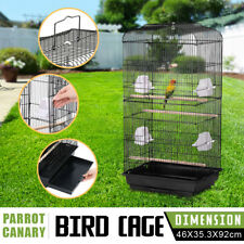 XL Large Metal Bird Cage Budgie Canary Finch Parrot Cockatiel Birdcage Black
