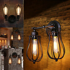 More details for modern retro vintage industrial wall mounted lights rustic sconce lamps fixture