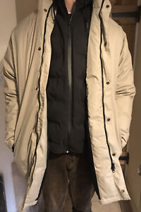 XL Lacoste Beige Fawn Parker Parka Warm Hooded Down Jacket Extra Large