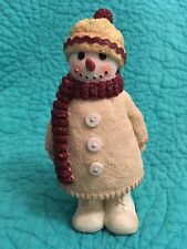 Winter/Christmas Season Standing Snowman Figurine In Hat, Scarf,Boots & Coat