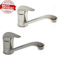 Monobloc Kitchen Taps Single Lever Mixer Modern Chrome or Brushed Steel Finish