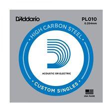 5 X D'ADDARIO PLAIN STEEL SINGLE GUITAR PL010. Electric or Acoustic 5 Pack