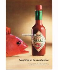 1992 McIlhenny Tabasco Sauce Hot Pepper Redfish Red Fish Vintage Ad