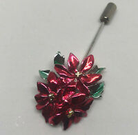 """Vintage Silver Tone Enamel Red Green Holiday Christmas Poinsetta Brooch Pin 2"""""""