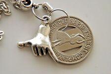 """Hang Loose Necklace 1951 Hawaii Token Hula Dancer! Shaka Hand Jester 21"""" Chain!"""