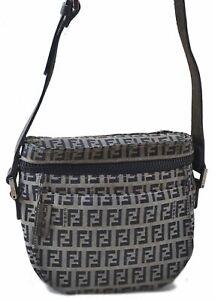 Authentic FENDI Zucchino Shoulder Bag Canvas Leather Navy B3362