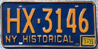 GENUINE 1973 New York Blue Historical USA License Licence Number Plate HX3146