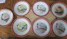 SET OF 7 ROYAL VIENNA FISH PLATES - BEEHIVE-SHIELD MARK