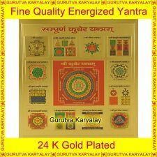 "Mantra Siddha Sampoorna Kuber Yantra 24K Gold Plated 3.5""X3.5"" Shri Kuber Yantra"