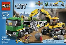 NEW LEGO CITY Excavator Transport 4203 Mining Truck Trailer Drill Miner Figures