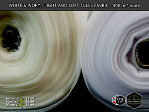 IVORY or WHITE - SOFT TULLE NET FABRIC - BRIDAL, VEILING & EVENTS - 300cm wide*