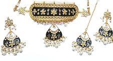Black Base  with floral Meenakari  and kundan Gold Plated  Choker  Jewellery Set