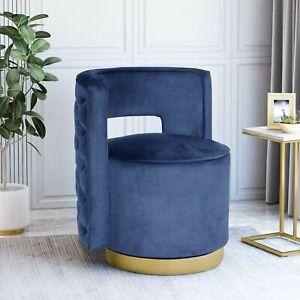 Freas Modern Glam Round Open Back Velvet Swivel Club Chair