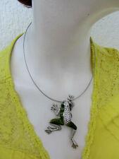 Modeschmuck,ausgefallener Halsreif m. Frosch,Strassanhänger, kein echtes Silber