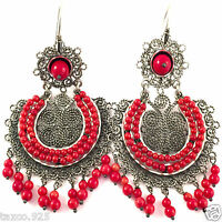 TAXCO MEXICAN STERLING SILVER BEADED BEAD CORAL FILIGREE EARRINGS MEXICO