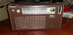 VINTAGE Toshiba RADIO MW/SW Rare in Brown Leather Jacket - Powers Up 1960's