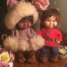 2 Vintage Regal Toys Doll Canadian Mountie Eskimo Inuit Indian Moody Cutie