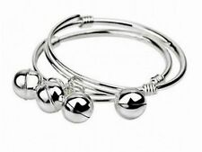 Baby Bangle With Bells 925 Hallmarked Sterling Silver Filled