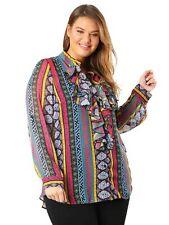 Lovedrobe GB Womens Plus Size Aztec Print Frill Front Shirt