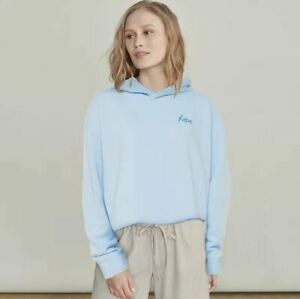 Elizabeth and James Hoodie Sweatshirt Embroidered Hope Blue Lounge S Small NEW