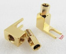 2 pcs Gold Plated Copper Spade Banana Fork plug Mcintosh Amp Eico tube Adapters