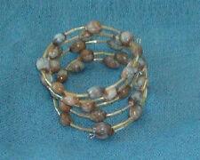 Brown Hawaiian Jobs Tears wrap bracelet w light yellow iridescent bugle beads