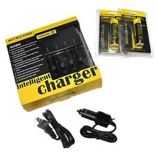 NEW NITECORE i4 V2 Intellicharge Charger w/ Two 18650 Batteries & Car Charger