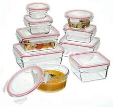 Glasslock 9 Piece Tempered Glass Food Container Set - Oven Safe $157.00
