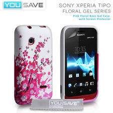 Accessories For The Sony Xperia Tipo ST21a Silicone Pink Floral Bee Case Cover